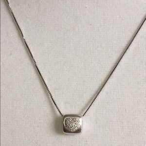 Jewelry - Solid 18K White Gold Diamond Pave Heart Necklace